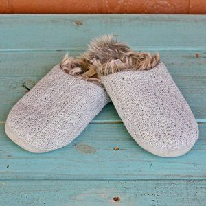 PJ Salvage Gray Cable Knit Faux Fur Slippers Shoes